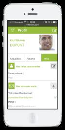 Famicity - le profil en version site mobile