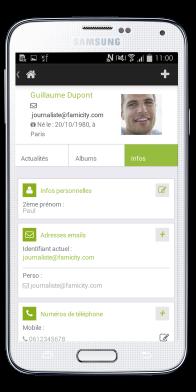 Famicity - Le profil vu de l'application